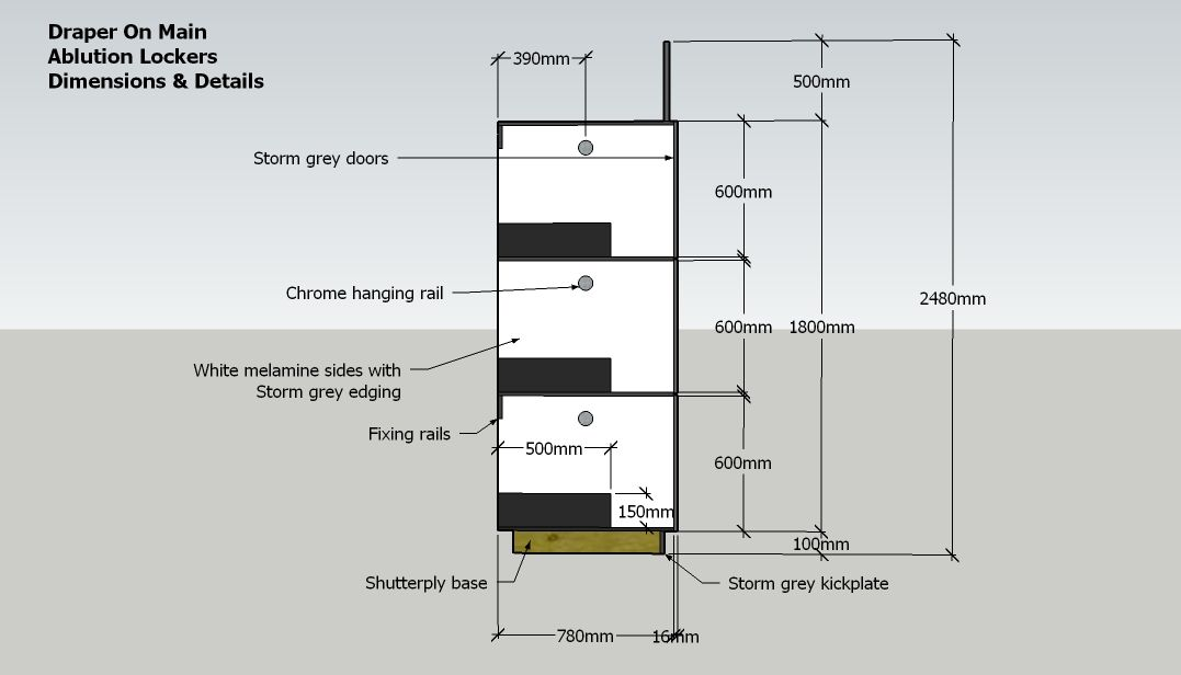 ablution locker with shelving plan