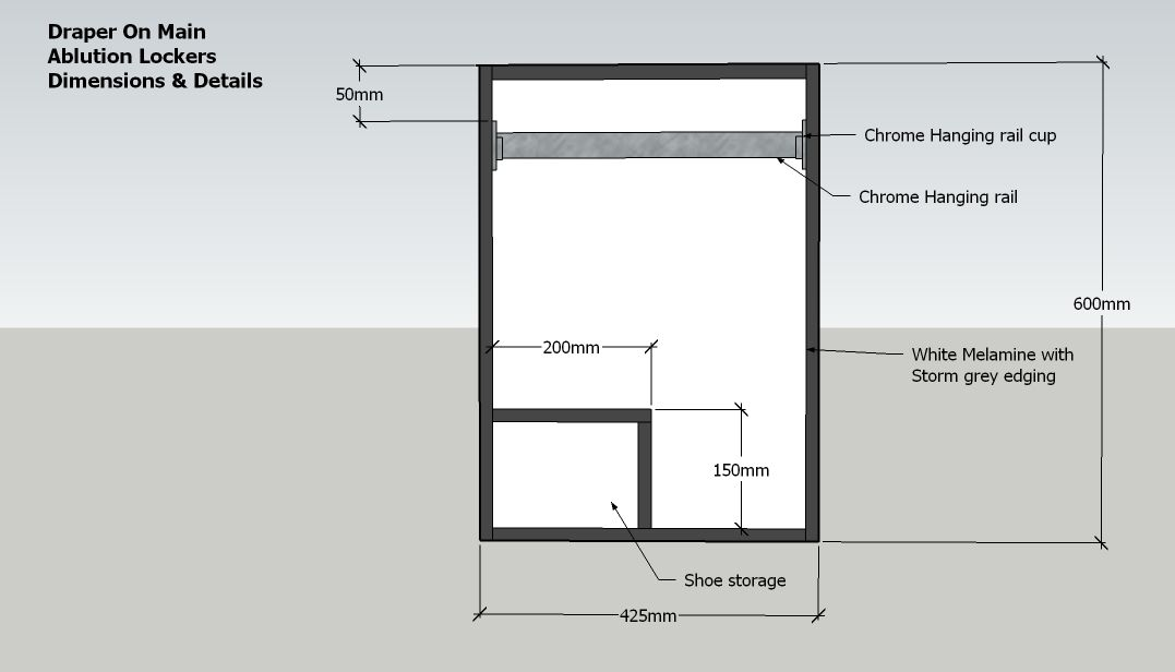 locker dimensions with hanging rail